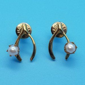 Marvella Wishbone Earrings with Faux Pearl